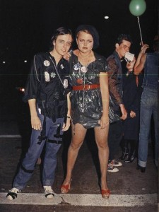 Belinda Carlisle, before her Go-Go's lead singer gig, wearing a dress made from a black plastic trash bag.