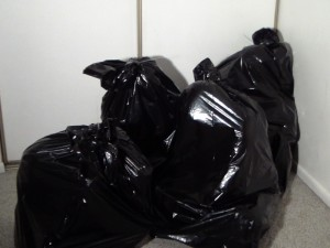Four kinky folk tied up and wiggling around in 55-gallon trash bags!